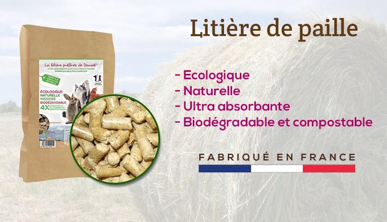Litière de paille naturelle, biodégradable et compostable